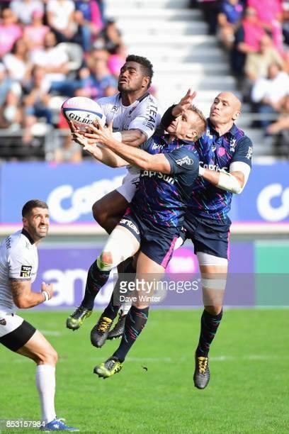 Josua Tuisova of Toulon Marvin OConnor of Stade Francais Paris and Sergio Parisse of Stade Francais Paris during the Top 14 match between Stade...