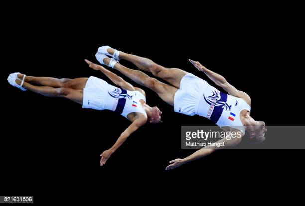 Josuah Faroux and Alan Bouattou of France compete during the Trampoline Synchronized Men Qualification of The World Games at Centennial Hall on July...