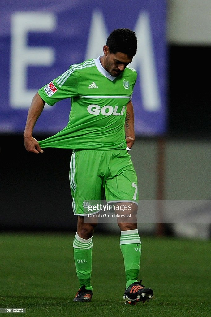 Josue of Wolfsburg reacts after the friendly match between Werder Bremen and VfL Wolfsburg at Mardan Palace Stadium on January 9, 2013 in Kundu, Turkey.