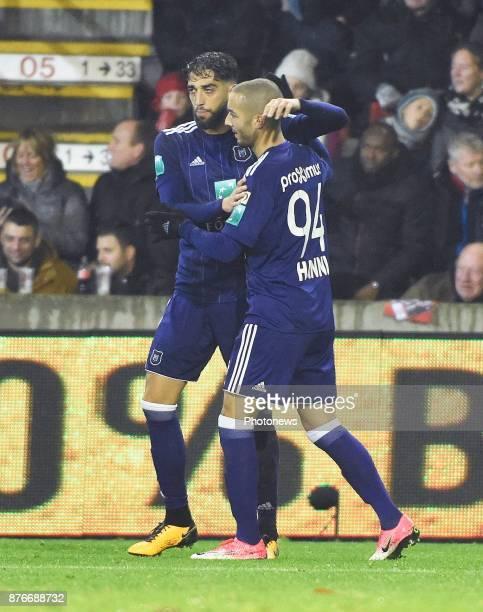 Josue Sa defender of RSC Anderlecht and Sofiane Hanni midfielder of RSC Anderlecht celebrates the win during the Jupiler Pro League match between...