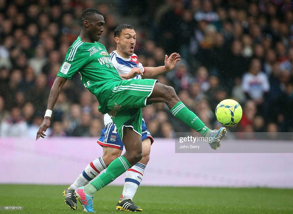 Josuha Guilavogui of Saint-Etienne and Steed Malbranque of Lyon in action during the Ligue 1 match between Olympique Lyonnais, OL, and AS Saint-Etienne, ASSE, at the Stade Gerland on April 28, 2013 in Lyon, France.
