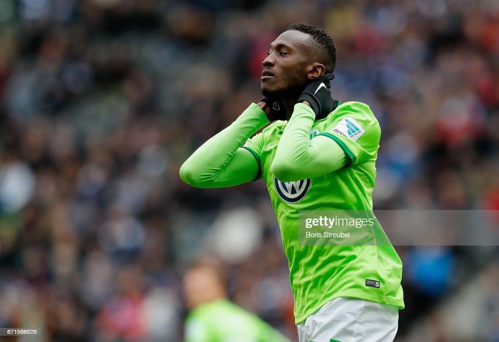 Josuha Guilavogui of VfL Wolfsburg reacts during the Bundesliga match between Hertha BSC and VfL Wolfsburg at Olympiastadion on April 22, 2017 in Berlin, Germany.