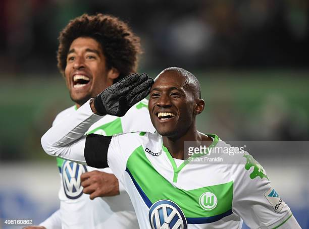 Josuha Guilavogui of Wolfsburg celebrates scoring his goal during the Bundesliga match between VfL Wolfsburg and Werder Bremen at Volkswagen Arena on...