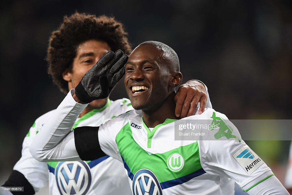 Josuha Guilavogui of Wolfsburg celebrates scoring his goal during the Bundesliga match between VfL Wolfsburg and Werder Bremen at Volkswagen Arena on November 21, 2015 in Wolfsburg, Germany.