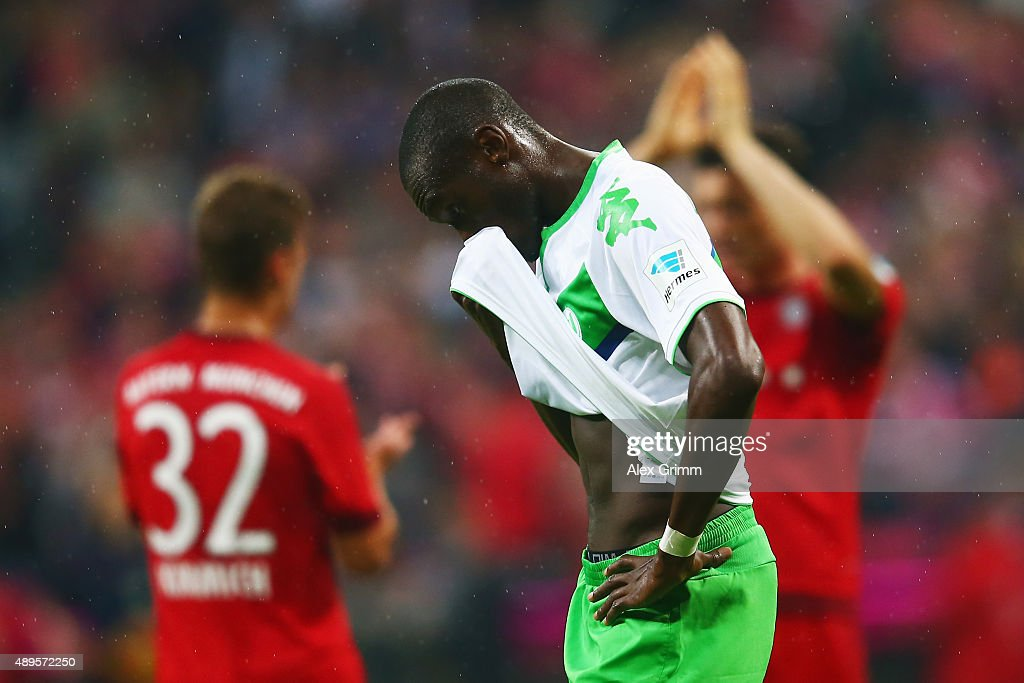 Josuha Guilavogui of Wolfsburg reacts after the Bundesliga match between FC Bayern Muenchen and VfL Wolfsburg at Allianz Arena on September 22, 2015 in Munich, Germany.