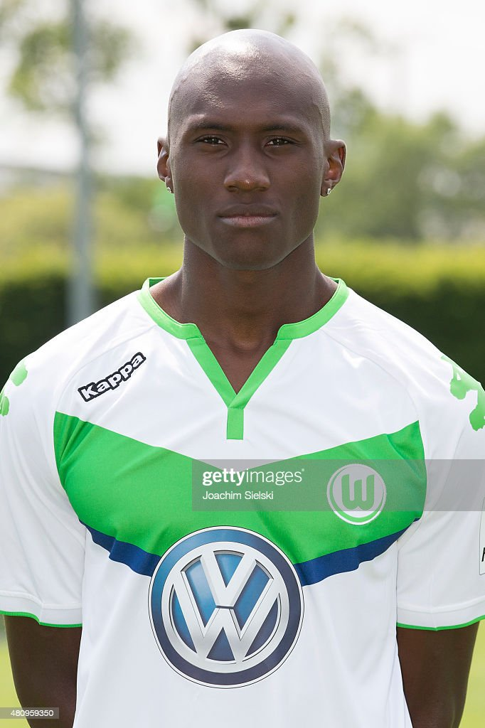 Josuha Guilavogui poses during the team presentation of VfL Wolfsburg at Volkswagen Arena on July 16, 2015 in Wolfsburg, Germany.