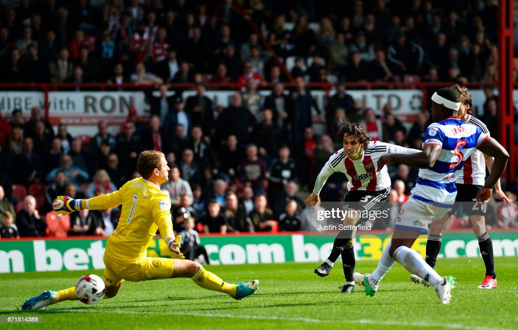 Jota of Brentford scores the third Brentford goal during the Sky Bet Championship match between Brentford and QPR at Griffin Park on April 22, 2017 in Brentford, England.