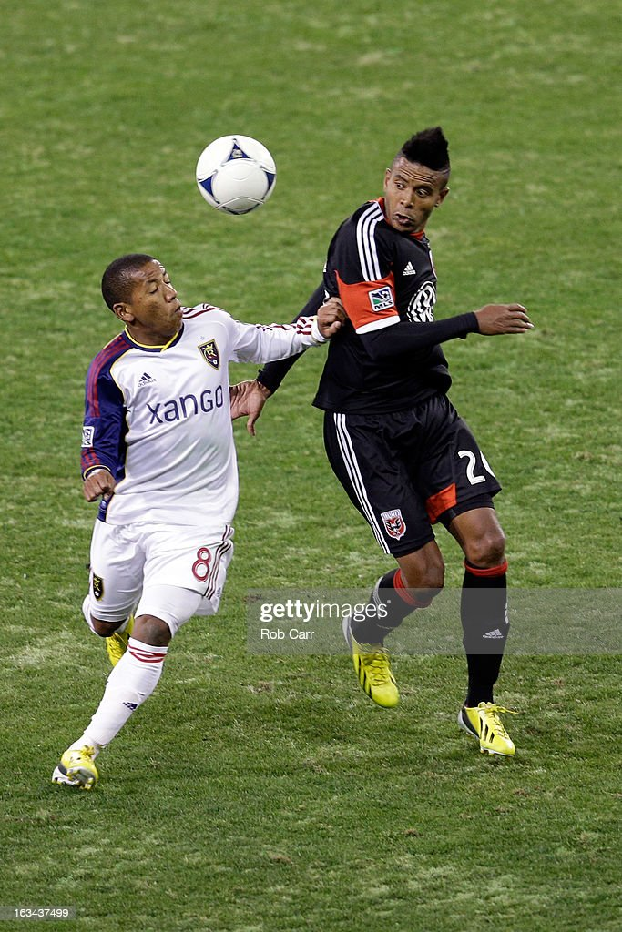 Jou Plata #8 of Real Salt Lake and Lionard Pajoy #26 of D.C. United go up for the ball during the second half at RFK Stadium on March 9, 2013 in Washington, DC.