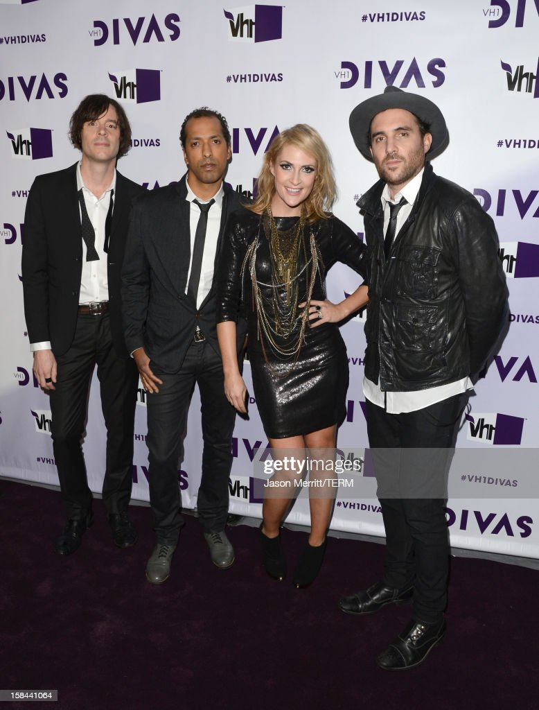 Joules Scott-Key, Josh Winstead, Emily Haines, James Shaw of the musical group Metric arrive at 'VH1 Divas' 2012 held at The Shrine Auditorium on December 16, 2012 in Los Angeles, California.