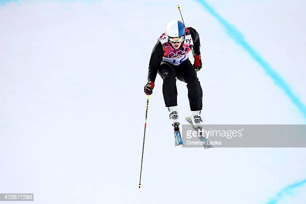 Jouni Pellinen of Finland competes during the Freestyle Skiing Men's Ski Cross Seeding on day 13 of the 2014 Sochi Winter Olympic at Rosa Khutor...