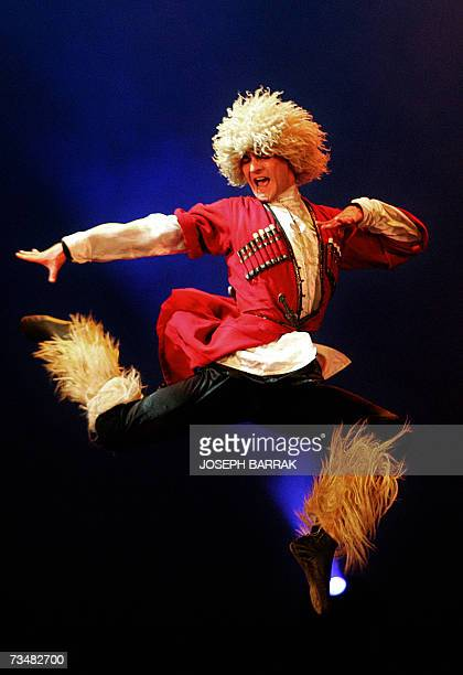 A dancer of the Georgian National Ballet performs at the Casino Du Liban in Jounieh north of Beirut 02 March 2007 The Georgian National Ballet has...