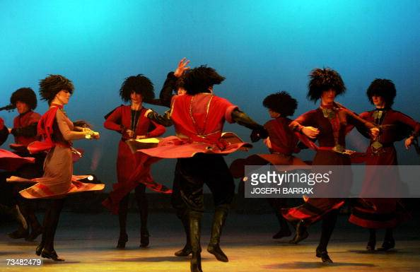 Dancers of the Georgian National Ballet perform at the Casino Du Liban in Jounieh north of Beirut 02 March 2007 The Georgian National Ballet has...