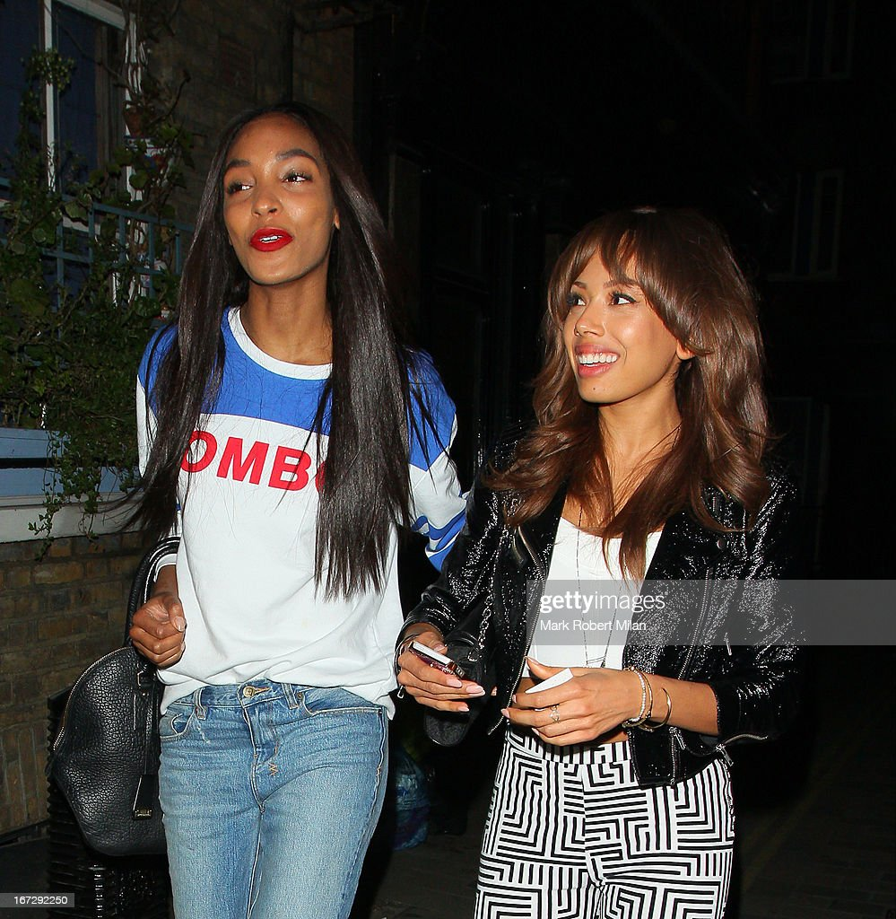 Jourdan Dunn and Jade Ewen at the Crazy Bear club on April 23, 2013 in London, England.