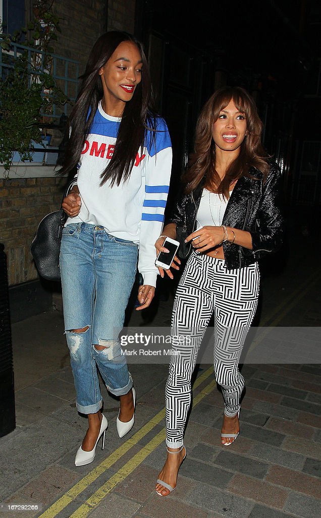 <a gi-track='captionPersonalityLinkClicked' href=/galleries/search?phrase=Jourdan+Dunn&family=editorial&specificpeople=4347612 ng-click='$event.stopPropagation()'>Jourdan Dunn</a> and <a gi-track='captionPersonalityLinkClicked' href=/galleries/search?phrase=Jade+Ewen&family=editorial&specificpeople=5848196 ng-click='$event.stopPropagation()'>Jade Ewen</a> at the Crazy Bear club on April 23, 2013 in London, England.