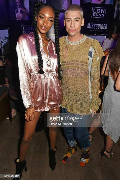 Jourdan Dunn and Kyle De'Volle attend the Lon Dunn Missguided launch event hosted by Jourdan Dunn at The London EDITION on February 17 2017 in London...