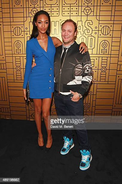 Jourdan Dunn and Nicholas Kirkwood attend Nicholas Kirkwood 10 year collection Launch and Party during London Fashion Week on September 19 2015 in...