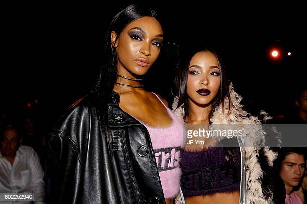 Jourdan Dunn and Tinashe attend the Alexander Wang Spring 2017 fashion show during New York Fashion Week September 2016 at Pier 94 on September 10...