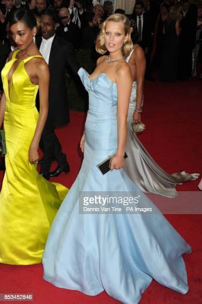 Jourdan Dunn and Toni Garrn arriving at the Met Gala event at the Metropolitan Museum of Art in New York USA