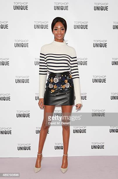 Jourdan Dunn arrives at the Topshop Unique show during London Fashion Week SS16 at The Queen Elizabeth II Conference Centre on September 20 2015 in...