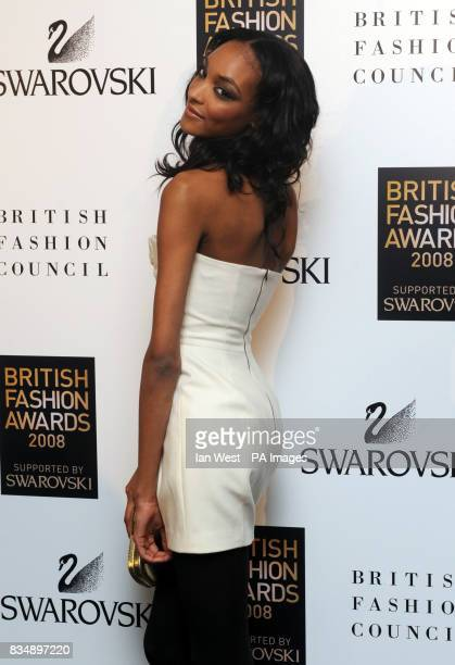 Jourdan Dunn arrives for the 2008 British Fashion Awards at the Royal Horticultural Hall 80 Vincent Square London