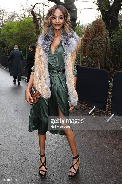 Jourdan Dunn arriving at the Burberry Prorsum Show LCM a/w 2016 at Kensington Gardens on January 11 2016 in London England