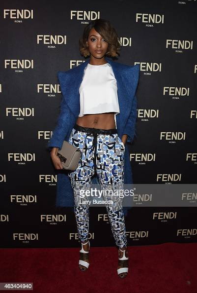 Jourdan Dunn attends FENDI celebrates the opening of the New York flagship store on February 13 2015 in New York City