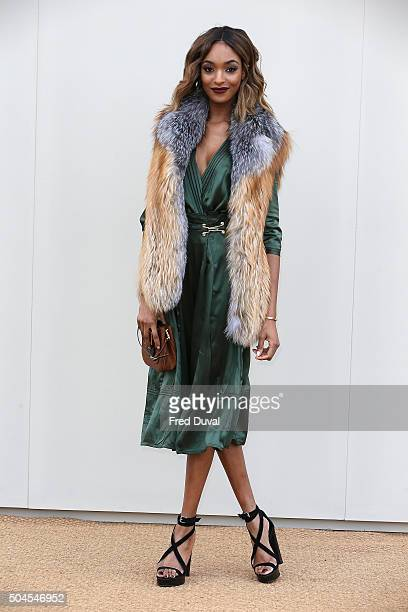 Jourdan Dunn attends the Burberry Menswear January 2016 Show at Kensington Gardens on January 11 2016 in London England