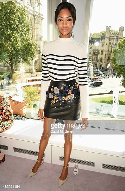 Jourdan Dunn attends the Topshop Unique show during London Fashion Week SS16 at The Queen Elizabeth II Conference Centre on September 20 2015 in...