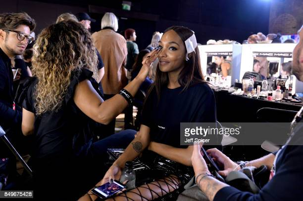 Jourdan Dunn backstage ahead of the Tommy Hilfiger TOMMYNOW Fall 2017 Show during London Fashion Week September 2017 at the Roundhouse on September...
