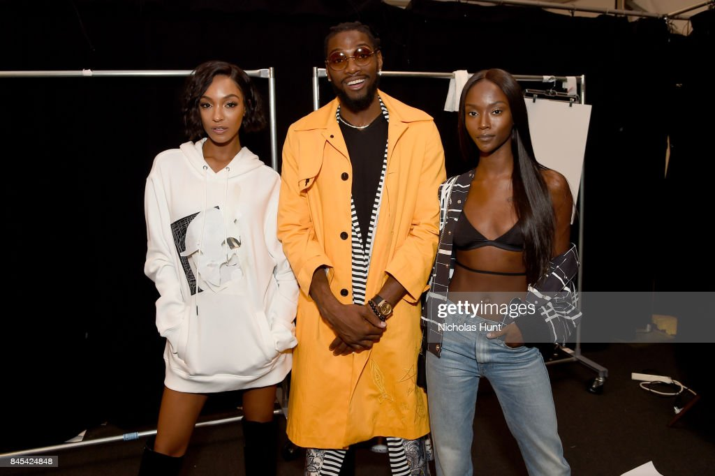 Jourdan Dunn, Kenneth Faried, and guest pose backstage for Rochambeau fashion show during New York Fashion Week: The Shows at Gallery 1, Skylight Clarkson Sq on September 10, 2017 in New York City.