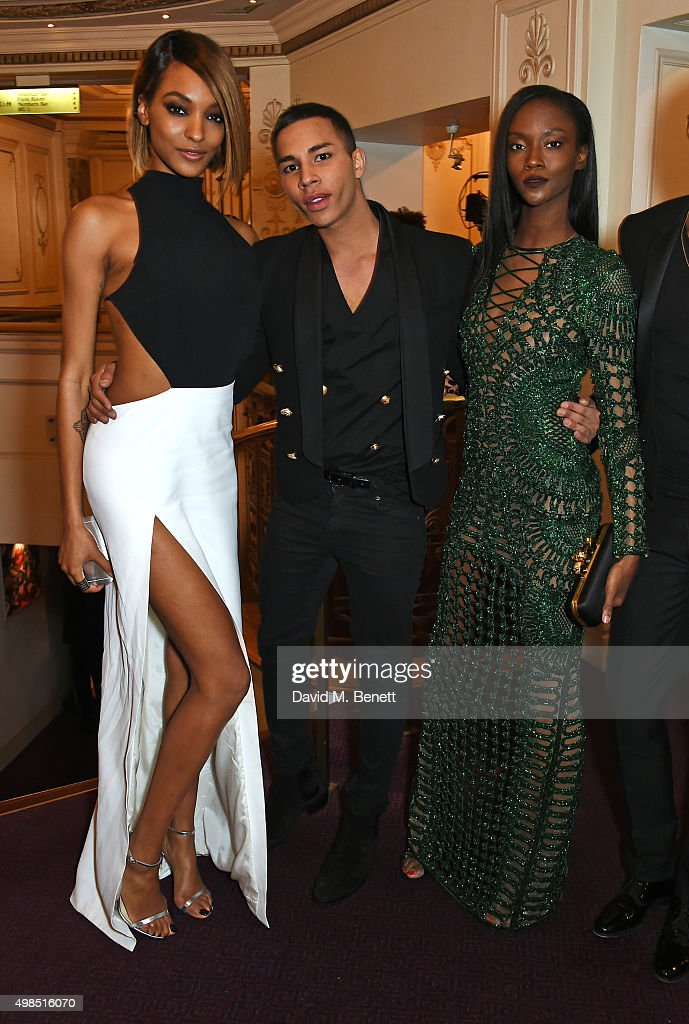 Jourdan Dunn, Olivier Rousteing and Riley Montana attend a drinks reception at the British Fashion Awards in partnership with Swarovski at the London Coliseum on November 23, 2015 in London, England.