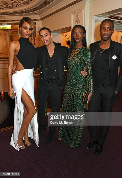 Jourdan Dunn Olivier Rousteing Riley Montana and Emmanuel Ezugwu attend a drinks reception at the British Fashion Awards in partnership with...