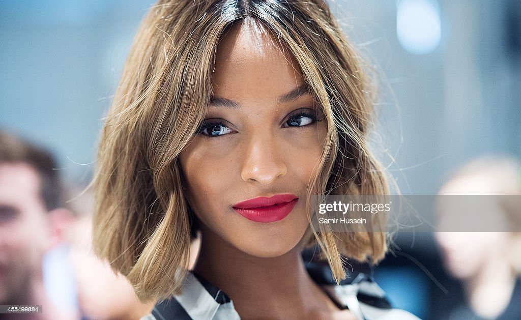 Jourdan Dunn poses backstage at the Burberry Prorsum show during London Fashion Week Spring Summer 2015 at on September 15 2014 in London England