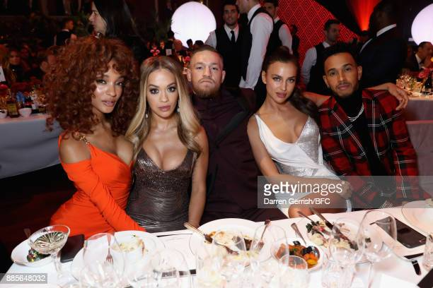 Jourdan Dunn Rita Ora Conor McGregor Irina Shayk and Lewis Hamilton attend The Fashion Awards 2017 in partnership with Swarovski at Royal Albert Hall...