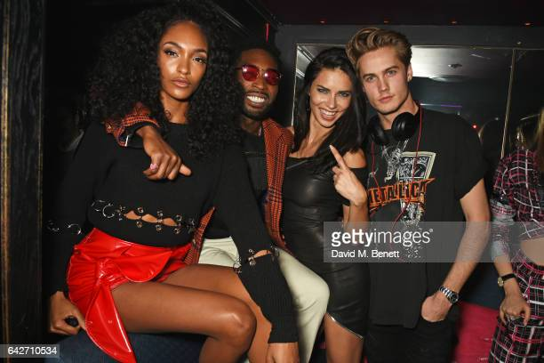 Jourdan Dunn Tinie Tempah Adriana Lima and DJ Neels Visser attend Maybelline's Bring On The Night London Fashion Week party at The Scotch of St James...