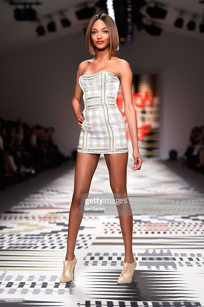 Jourdan Dunn walks the runway at the Fashion For Relief charity fashion show to kick off London Fashion Week Fall/Winter 2015/16 at Somerset House on...