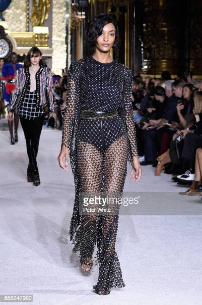 Jourdan Dunn walks the runway during the Balmain show as part of the Paris Fashion Week Womenswear Spring/Summer 2018 on September 28 2017 in Paris...