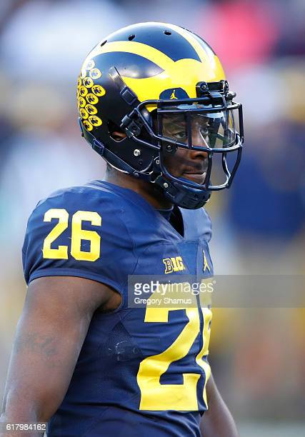 Jourdan Lewis of the Michigan Wolverines looks on while playing the Illinois Fighting Illini on October 22 2016 at Michigan Stadium in Ann Arbor...
