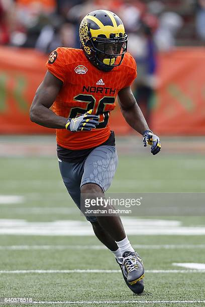 Jourdan Lewis of the North team runs during the Reese's Senior Bowl at the LaddPeebles Stadium on January 28 2017 in Mobile Alabama