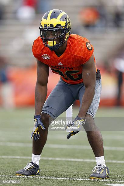 Jourdan Lewis of the North team warms up during the Reese's Senior Bowl at the LaddPeebles Stadium on January 28 2017 in Mobile Alabama