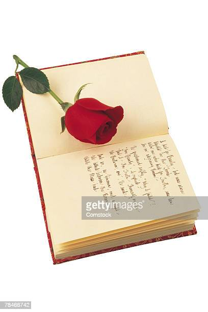 Journal with poetry and red rose
