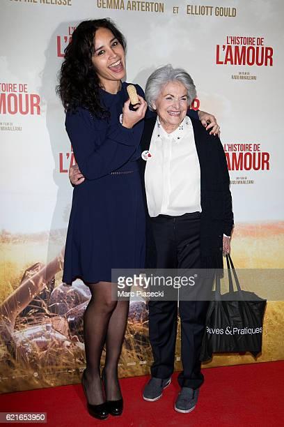 Journalist Aida Touihri and a guest attend the 'L'Histoire de l'Amour' Premiere at Gaumont Capucines on November 7 2016 in Paris France