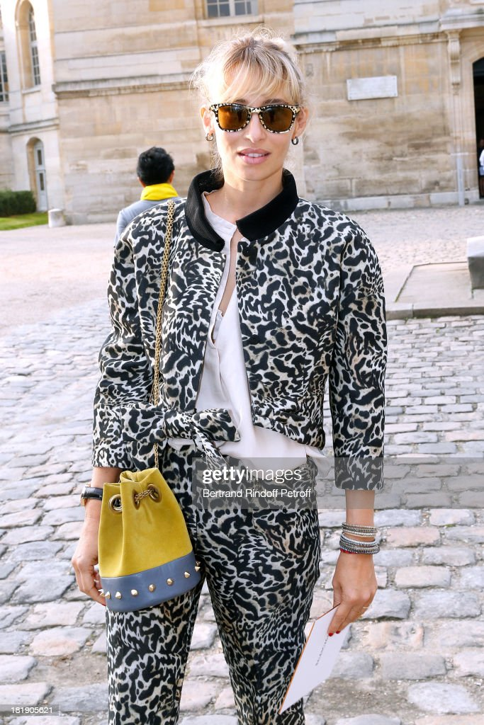 Journalist <a gi-track='captionPersonalityLinkClicked' href=/galleries/search?phrase=Alexandra+Golovanoff&family=editorial&specificpeople=4119816 ng-click='$event.stopPropagation()'>Alexandra Golovanoff</a> arriving at Balenciaga show as part of the Paris Fashion Week Womenswear Spring/Summer 2014, held at Paris Observatory on September 26, 2013 in Paris, France.
