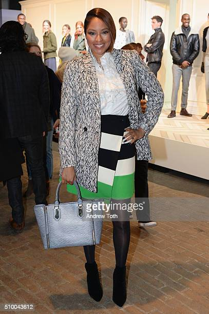 Journalist Alicia Quarles poses at the Banana Republic Fall 2016 fashion show at Highline Stages on February 13 2016 in New York City