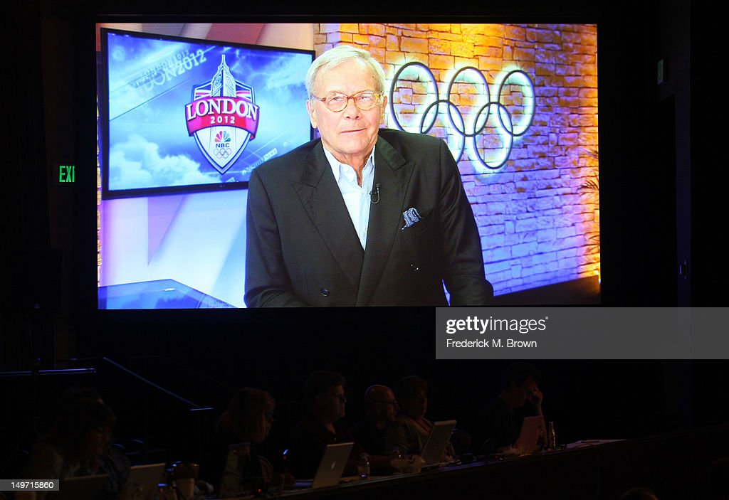 Journalist and author <a gi-track='captionPersonalityLinkClicked' href=/galleries/search?phrase=Tom+Brokaw&family=editorial&specificpeople=203263 ng-click='$event.stopPropagation()'>Tom Brokaw</a> (live via satellite from London) speaks at 'The Brokaw Files' discussion panel during the Discovery Networks/The Military Channel portion of the 2012 Summer Television Critics Association tour at the Beverly Hilton Hotel on August 2, 2012 in Los Angeles, California.