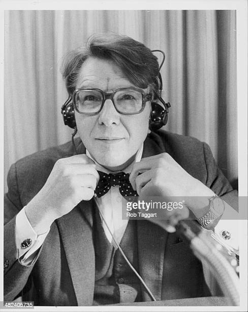 Journalist and broadcaster Robin Day making last minute adjustments to the Radio 4 program 'The World at One' BBC Broadcasting House London January...