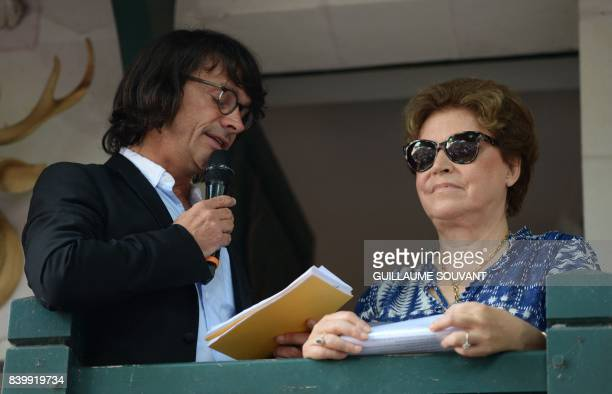 Journalist and coorganisator Christian Panvert and French writer and member of the Goncourt academy Francoise Chandernagor attend a tribute to the...