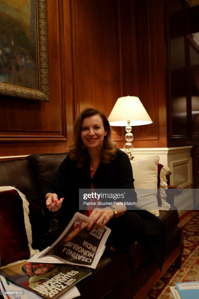 Journalist and former first lady to France's President Francois Hollande, Valerie Trierweiler is photographed for Paris Match during a humanitarian trip to India visiting the charity Action Against Hunger on January 27, 2014 in Mumbai, India.