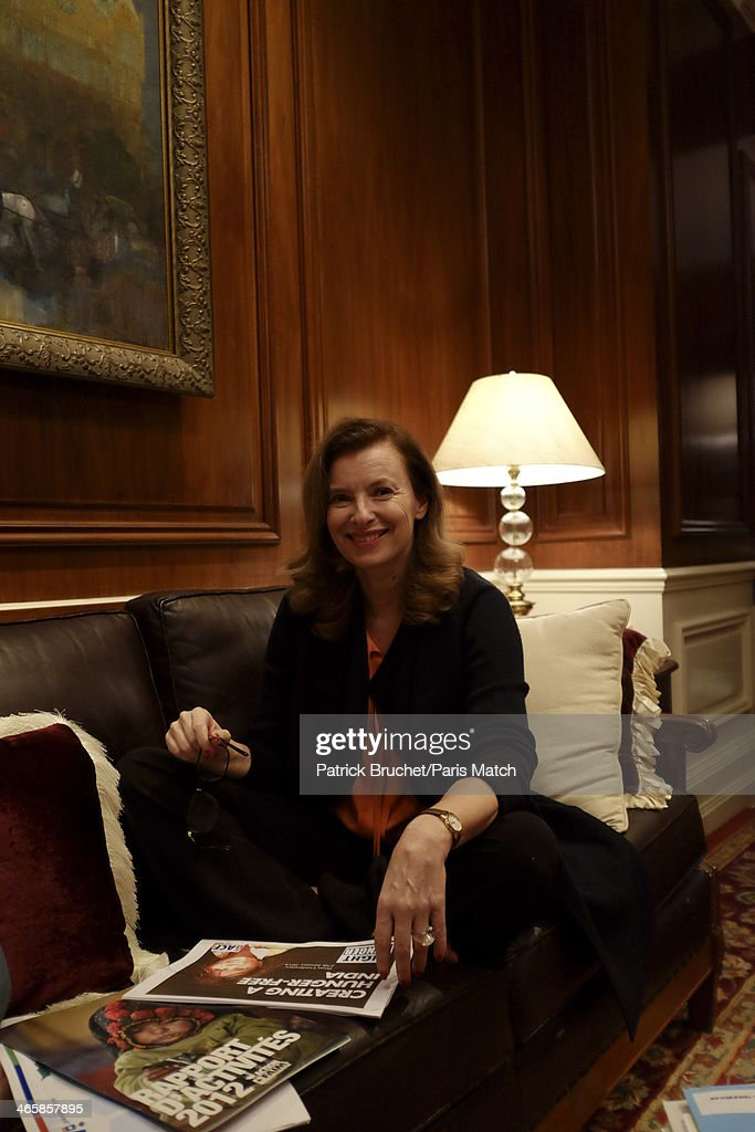 Journalist and former first lady to France's President Francois Hollande, <a gi-track='captionPersonalityLinkClicked' href=/galleries/search?phrase=Valerie+Trierweiler&family=editorial&specificpeople=8534231 ng-click='$event.stopPropagation()'>Valerie Trierweiler</a> is photographed for Paris Match during a humanitarian trip to India visiting the charity Action Against Hunger on January 27, 2014 in Mumbai, India.