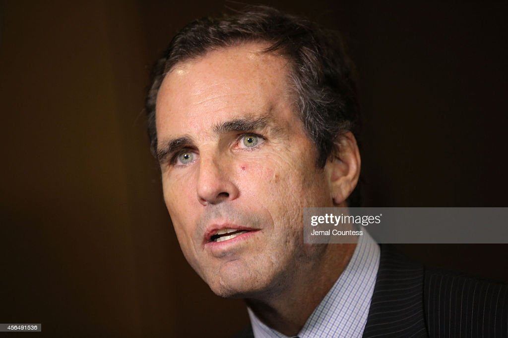 Journalist and Gala host <a gi-track='captionPersonalityLinkClicked' href=/galleries/search?phrase=Bob+Woodruff&family=editorial&specificpeople=785978 ng-click='$event.stopPropagation()'>Bob Woodruff</a> speaks to the media during the 2014 'Working for Wellness And Beyond' Gala at Mandarin Oriental Hotel on October 1, 2014 in New York City.